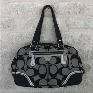 Coach Laura Signature Satchel black white silver C